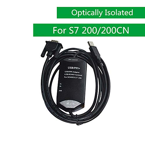 WASHINGLEE USB Programming Cable for Siemens PLC S7 200 and 200CN, Isolated Interface, 6ES7901-3DB30-0XA0 Replacement, Black, 2 Options. (S7 200/200CN)