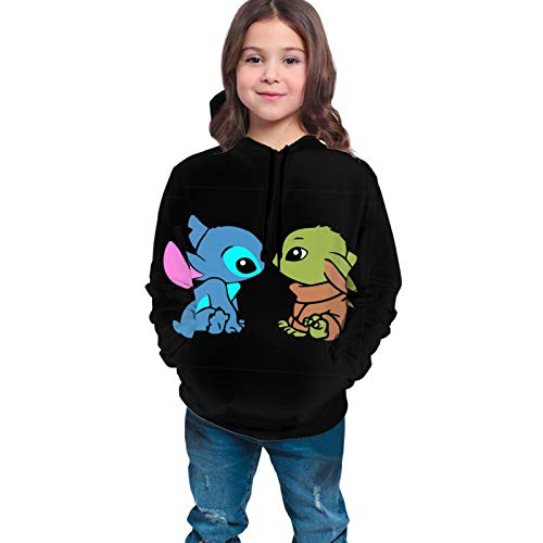Baby Yoda Baby Stit-Ch Kids Novelty Hoodies 3d Printed Front Pockets Pullover Sweatshirts For Girls Boys 14-16 Years