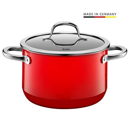 Silit Passion Red Koch/- Fleischtopf, hoch, 20cm, Glasdeckel, 3,7l, Silargan Funktionskeramik, Topf Induktion, rot