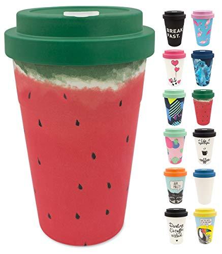 holi. Coffee-to-Go Bambus-Becher mit Schraubdeckel | nachhaltiger Kaffeebecher mit Verschluss | Mehrweg-Becher Bamboo-Cup | Woodcup, lebensmittelecht, spülmaschinenfest (Wet Watermelon)