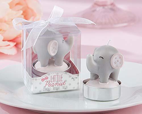 DISOK - Vela Bautizo Elefante en caja de regalo. Velas para bautizo. Originales velas de bautizo (1-Azul)