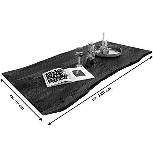 SAM Tischplatte 120x80 cm, Akazie massiv, naturfarben, stilvolle Baumkanten-Platte, pflegeleichtes Unikat - 3