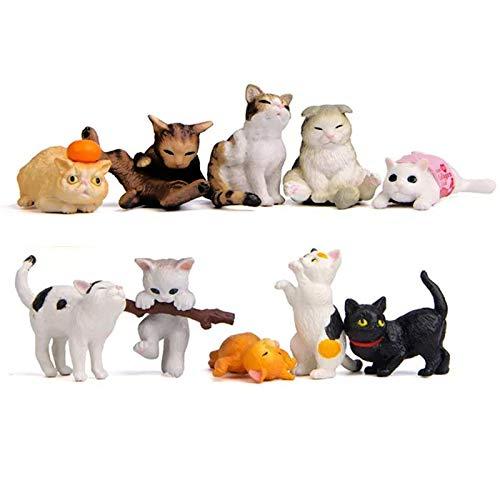10 pcs (1 set) Kawaii Animal Cat Characters Toys Mini Figure Collection Playset, Cake Topper, Plant, Automobile decoration
