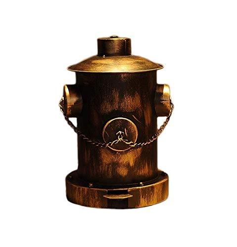 Cubo de Basura Viento Industrial Bote de Basura Hidrante Pedal de Basura Cubo de Basura Decoración de Hierro Forjado Bar Restaurante con Tapa Cubo de Basura Basurero (Color : Brass)
