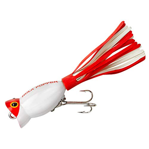 Arbogast G730-01 Hula Popper Top Water Popper, 1 1/4, 3/16 oz White Red Head, Floating