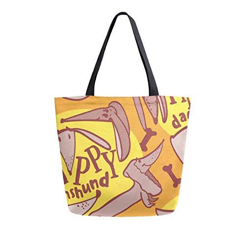 Ahomy Reusable Canvas Grocery Tote Bags, Dachshund Dog Women Handbag Shopping Tote Work School