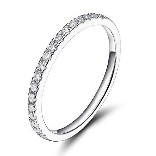 Zakk Eternity Ring Damen Ewigkeitsringe Vorsteckring Schmal Silber 925 Zirkonia Verlobungsringe Eheringe Trauringe Memoire Ring (Silber,52 (16.6))