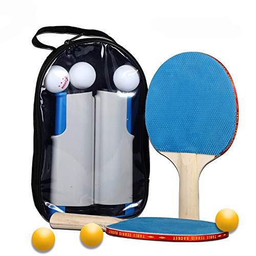 Buy Discount LJFZDB Ping Pong Paddle Set Portable Table Tennis Set Telescopic Grid 1 Pair of Rackets...