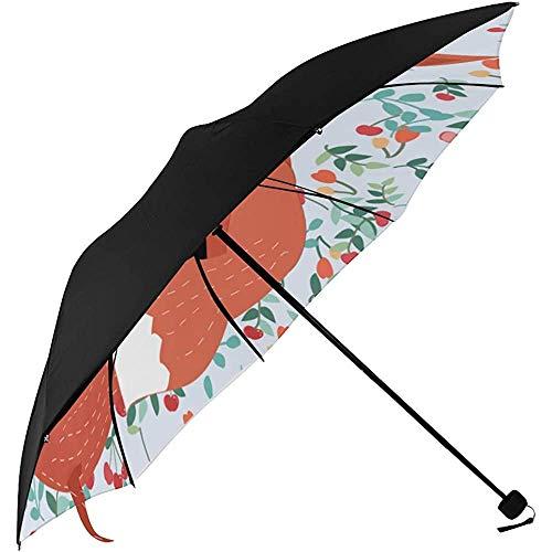 Landau Parapluie Renard Mignon de Bande Dessinée Forêt Animal Dessous Impression Voiture Parasol Parapluie Compact Parapluie pour Enfants Parapluie Pliable