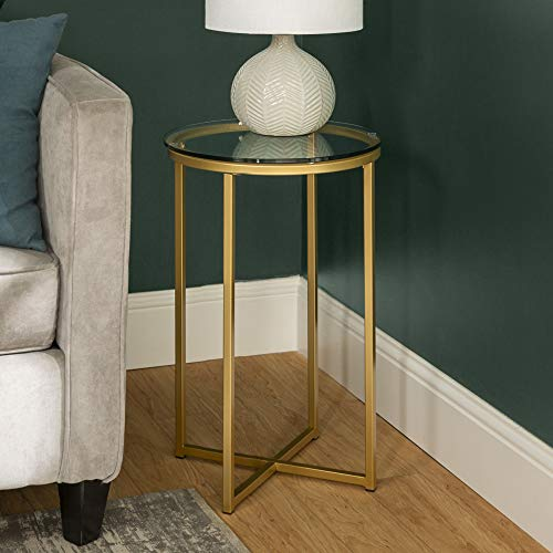 Walker Edison Cora Modern Glass Top Round Accent Table with X Base, 16 Inch, Glass and Gold