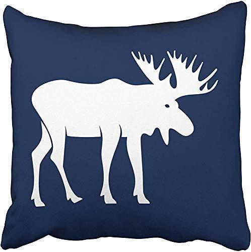 Funda de almohada Woodland con diseño de alce en color azul marino y blanco, decoración del hogar, bonito regalo para interior/exterior, funda de cojín, sofá, cama, coche, casa, con cremallera oculta, suave de 45,72 x 45,72 cm