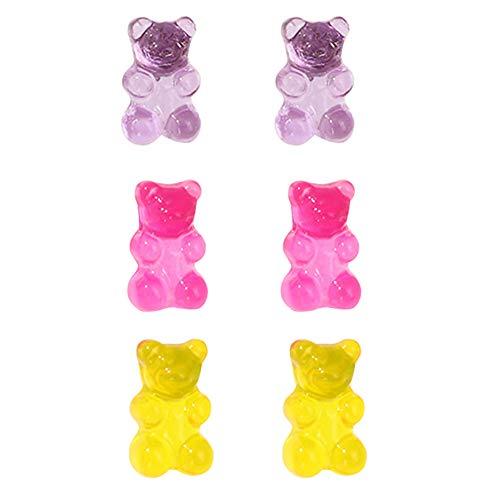 xuebixu 5 pares de aretes de resina dulce con diseño de oso de caramelo para mujer, pendientes lindos