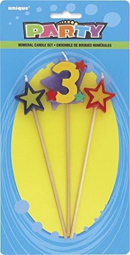 Unique Party 34043 - Numero 3 Stella Candeline di Compleanno Set di 3