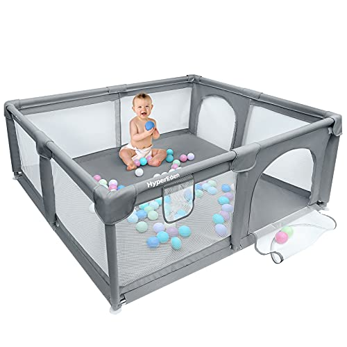 Large Baby Playpen, Extra Safe with Anti-Collision Foam Playpens for Babies, Indoor & Outdoor Playard for Kids Activity Center with Gate, Large Anti-Fall Playpen