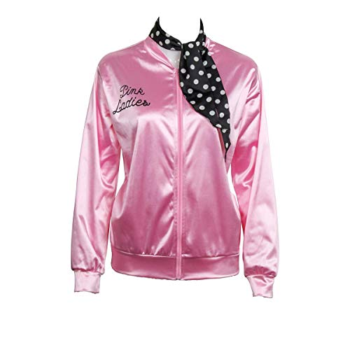 1950s Pink Satin Jacket with Neck Scarf Girls Women Halloween Costume Fancy Dress Props (Large)
