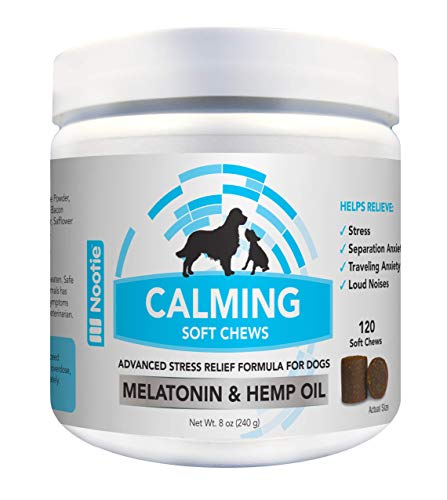 Nootie Calming Treats for Dogs 120CT - Dog Anxiety Relief Made with Organic Passion Flower & 150Mg of Hemp Oil for Dogs per Soft Chew - Calming Aid for Anxiety Relief for Dogs - Calming Dog Treats
