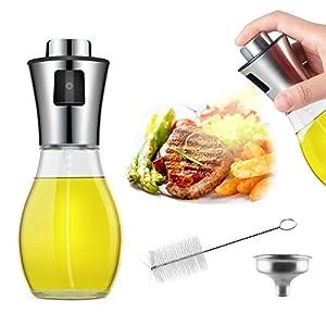 AJOXEL Pulverizador Aceite Dispensador de Aceite, Aceitera Spray Oil Sprayer 200 ml Vinagre/Aceite de Oliva con Embudo Acero Inoxidable Botella de Vidrio para Cocinar más Sano, Ensalada,Plancha