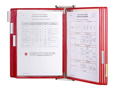 TARIFOLD 414103- Expositor de pared A4 para catálogos con fijación y 10 fundas PVC, color rojo