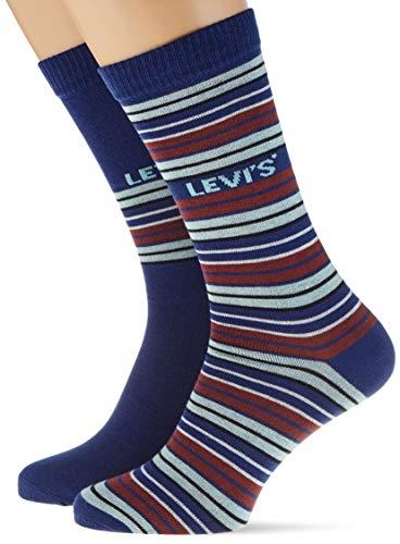 Levi\'s Unisex-Adult Multicolour Stripe Regular Cut (2 Pack) Sock, Blue, 39/42 (2er Pack)