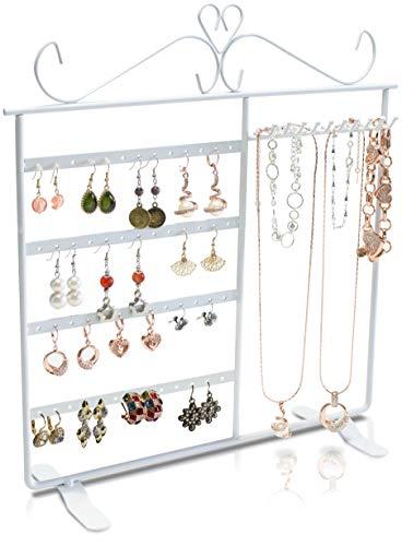 LAUBLUST Schmuckständer für Ohrringe, Ketten & Armbänder - ca. 34 x 30 x 11 cm, Weiß - Dekorativer Metall Schmuck-Halter 4 Etagen & Haken | Schmuck-Aufbewahrung | Ohrring-Ständer | Kettenhalter