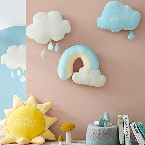 CPFYZH Regenbogen Sonne Wolke Plüschtier Plüsch Sonne bewölkt natürliches Wetter weiche Puppe Hauptdekoration Kissen Kinder Toy-Blue_Cloud