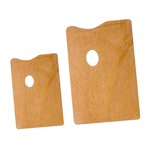 menolana 2 Pieces Portable Wooden Square Palette Artists Vintage Classic Mixing Tray