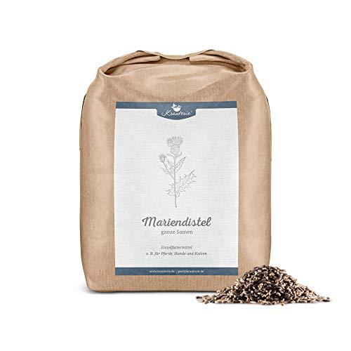 Krauterie Mariendistelsamen in hochwertiger Qualität, frei von jeglichen Zusätzen, als Tee oder für Pferde, Hunde und Katzen (Silybum marianum) – 1000 g