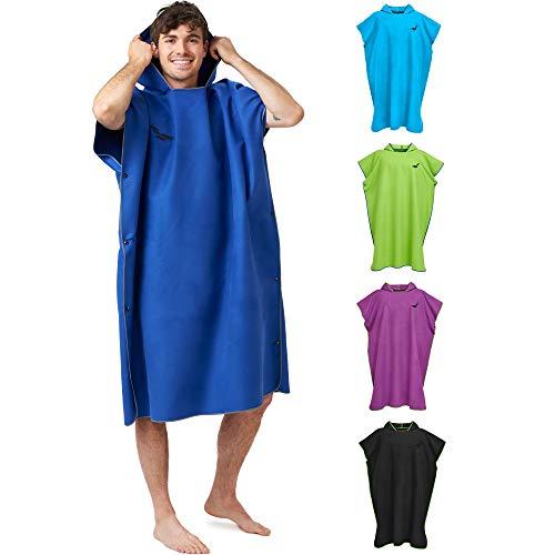 Strandponcho kvinnor & män, kompakt och mycket lätt, Surfponcho-handduk, Ponchohandduk, Handduksponcho av mikrofiber byter poncho strand – Storlek: L, Mörkblå - Grå