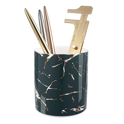Zodaca Pen Holder, Ceramic Marble Pencil Cup Desk Organizer Makeup Brushes Holder with Gold Accent, Dark Green Golden