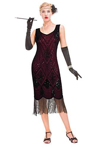 Abito da Donna Ispirato al Gatsby Vintage - Abito da Cocktail con Flapper degli Anni '20 (Borgogna, M (UK 12 / EU 40) Busto 35.4')