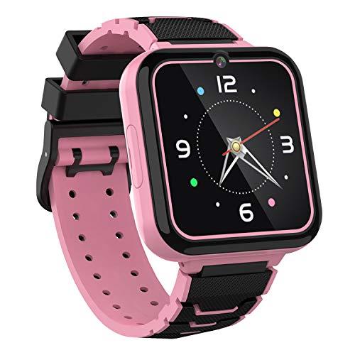 Kinder Smart Watch Telefon - HD Touchscreen Smartwatch für Mädchen Jungen mit 7 Spielen Musik Player Taschenlampe Anruf SOS Kamera Wecker Lernspielzeug Uhr Kinder Geburtstagsgeschenke 3-12 (Rosa)