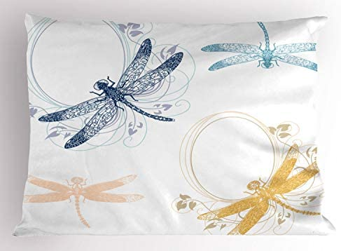 Ambesonne Dragonfly Pillow Sham Floral Spring Bugs Wings with Flower Petals Animal Nature Themed product image