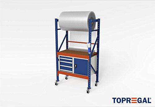 Pakketafel verrijdbare werkbank etagewagen H214xB120xT60 met rolhouder incl. multiplexplaat & gereedschapskasten en 40 cm in hoogte verstelbaar
