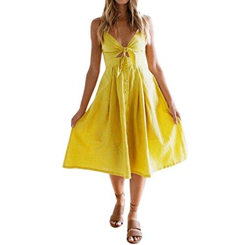 Longra Damen V Ausschnitt A-Linie Kleid Trägerkleid Rückenfreies Kleider Sommerkleider Strandkleider Knielang Feminin Elegante Kleider Urlaub Bowknot Party Kleid mit Buttons (Yellow, M)