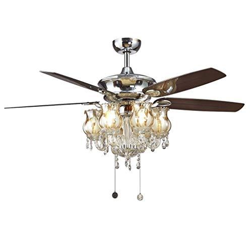 Luz silenciosa del ventilador de techo Ventilador de techo LED nórdica cristalina del hierro luz de techo de la lámpara del ventilador LED de luces de techo de la lámpara de techo for Foyer del dormit
