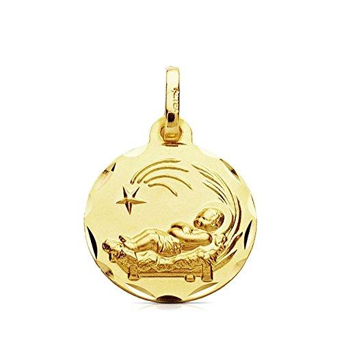 Médaille pendentif 9K Pendentif en or 16 mm Enfant dans la crèche. Poids lisse Couper 1.35Gr Cerco détail. - personnalisable - Enregistrement Inclus dans le prix