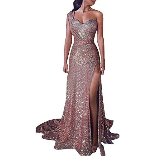 Bolsillos Women Dress,Vestido bronceador Sexy de un Solo Hombro-Rose Gold_S,Vestido de Verano para Mujer Cuello en V sin Hombros