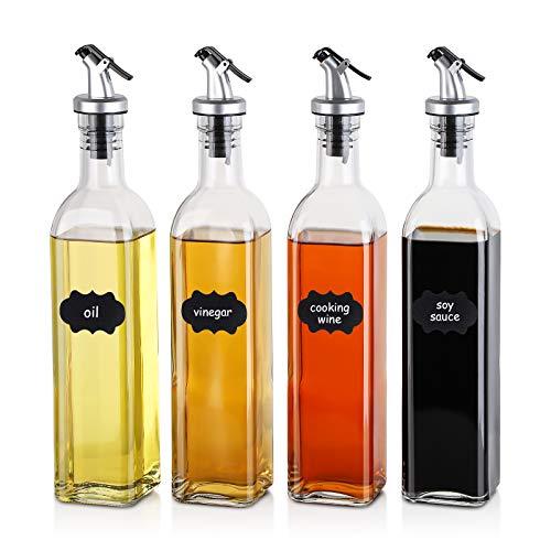 BEYONDA Ölflaschen – 4 Stück 500ml Glas Ölflaschen Olivenöl Flaschen Essig Spender Set zum Kochen Küche Backen Salat mit 4 Stück Ausgießer