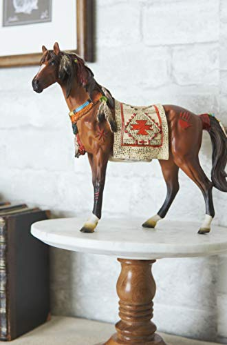 Ebros Equestrian Tribal Navajo Medicine Spirit Horse with Painted Tapestry Saddle Hand Crafted Statue 9.5' Long Native American Indian Symbols Palm Feathers Stallion Animal Decor Sculpture