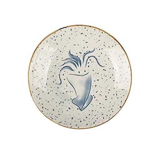 Aiglen Placa de cerámica Retro japonés Cubierto de Plato Profundo Plato Plato Plato Plato Plato Plato Plato Restaurante Disco Disco (Color : D)