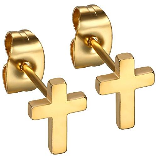 Flongo Orecchini croce orecchini in acciaio inossidabile, Orecchini per uomo donna oro, Piccoli orecchini in stile croce lucidati 8mm