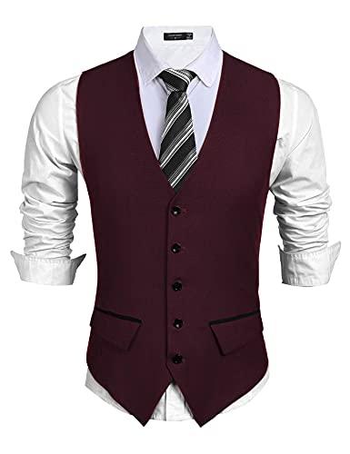 COOFANDY Traje de hombre para negocios, chaleco ajustado, chaleco de boda, vino tinto, XXL