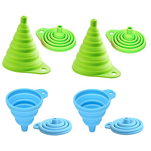 Silicone Collapsible Foldable Funnel Set of 4 Small and Large Food Grade FDA Approved for Water Bottle Liquid Transfer