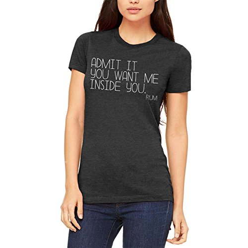Old Glory Want Me Inside You Rum Funny Juniors Soft T Shirt Heather Black X-LG