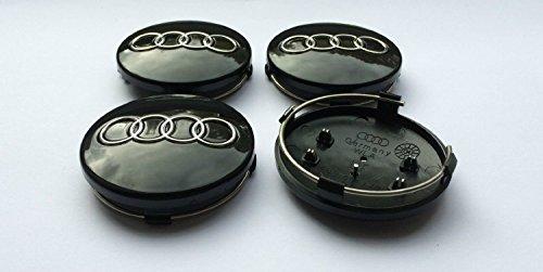 Set of 4 BLACK 60mm Alloy Wheel Centre Caps
