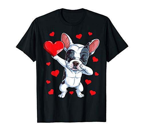 Dabbing French Bulldog Heart Valentines Day Boys Love Dog T-Shirt