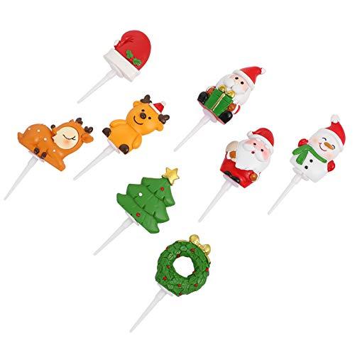 Amosfun 8 adornos para tartas de Navidad de resina, árbol de Navidad, Papá Noel, decoración para tartas de Navidad, fiestas, regalos de fiesta de Navidad