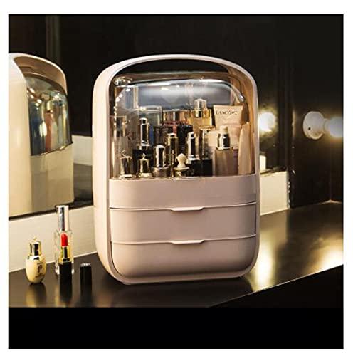 SHUANGJ Caja de Almacenamiento cosmético portátil a Prueba de Polvo e Impermeable cajón Tipo tocador lápiz Labial Skin Care Producto de Escritorio Caja Extra Large Beauty Pink