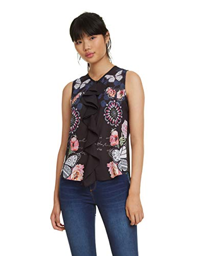 Desigual Blouse Sleeveless Ginebra Woman Black Blusas para Mujer