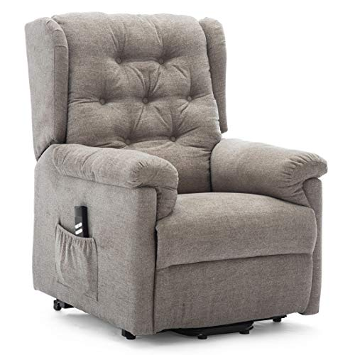 More4Homes BARNSLEY DUAL MOTOR ELECTRIC RISE RECLINER FABRIC ARMCHAIR ELECTRIC LIFT RISER CHAIR (Dark Beige)
